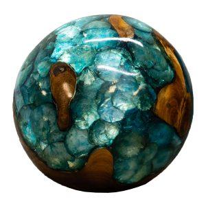 "Teak Wood & Blue Resin/Lucite Plastic Round 11"" Ball Wood Rare Accent BLR23B-06"