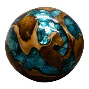 "Teak Wood & Blue Resin/Lucite Plastic Round 11"" Ball Wood Rare Accent BLR23B-01"