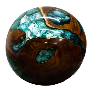 "Teak Wood & Blue Resin/Lucite Plastic Round 11"" Ball Wood Rare Accent BLR23B-05"