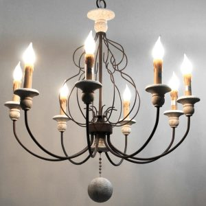 White and Black Chandelier with 8 Arms 31.5″ Large Light Faux Stone and Ball