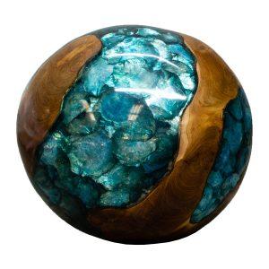 "Teak Wood & Blue Resin/Lucite Plastic Round 11"" Ball Wood Rare Accent BLR23B-04"
