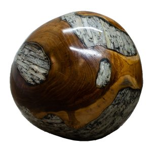 """Teak Wood & Clear Resin/Lucite Plastic Round 11"""" Ball Wood Rare Accent BLR23C-08"""