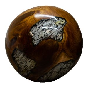 """Teak Wood & Clear Resin/Lucite Plastic Round 11"""" Ball Wood Rare Accent BLR23C-05"""