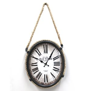 Oval Wall Clock with Hemp Rope Bailey 1863 Bronze Metal Frame