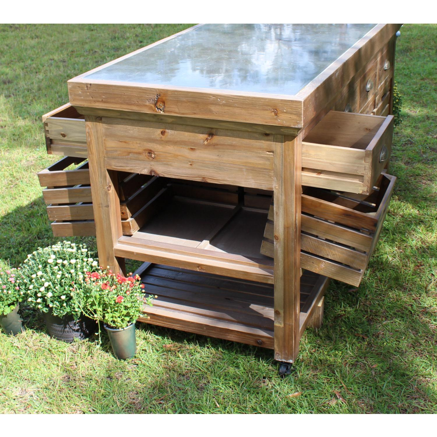 Rolling Kitchen Island Cart Or Counter With Black Stone