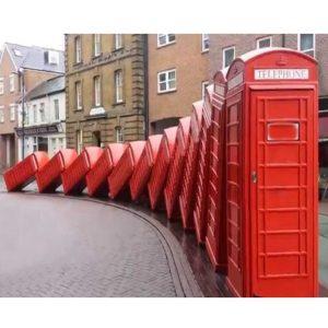 Falling Telephone Booth Sculpture London Kingston Street Park Art Installation