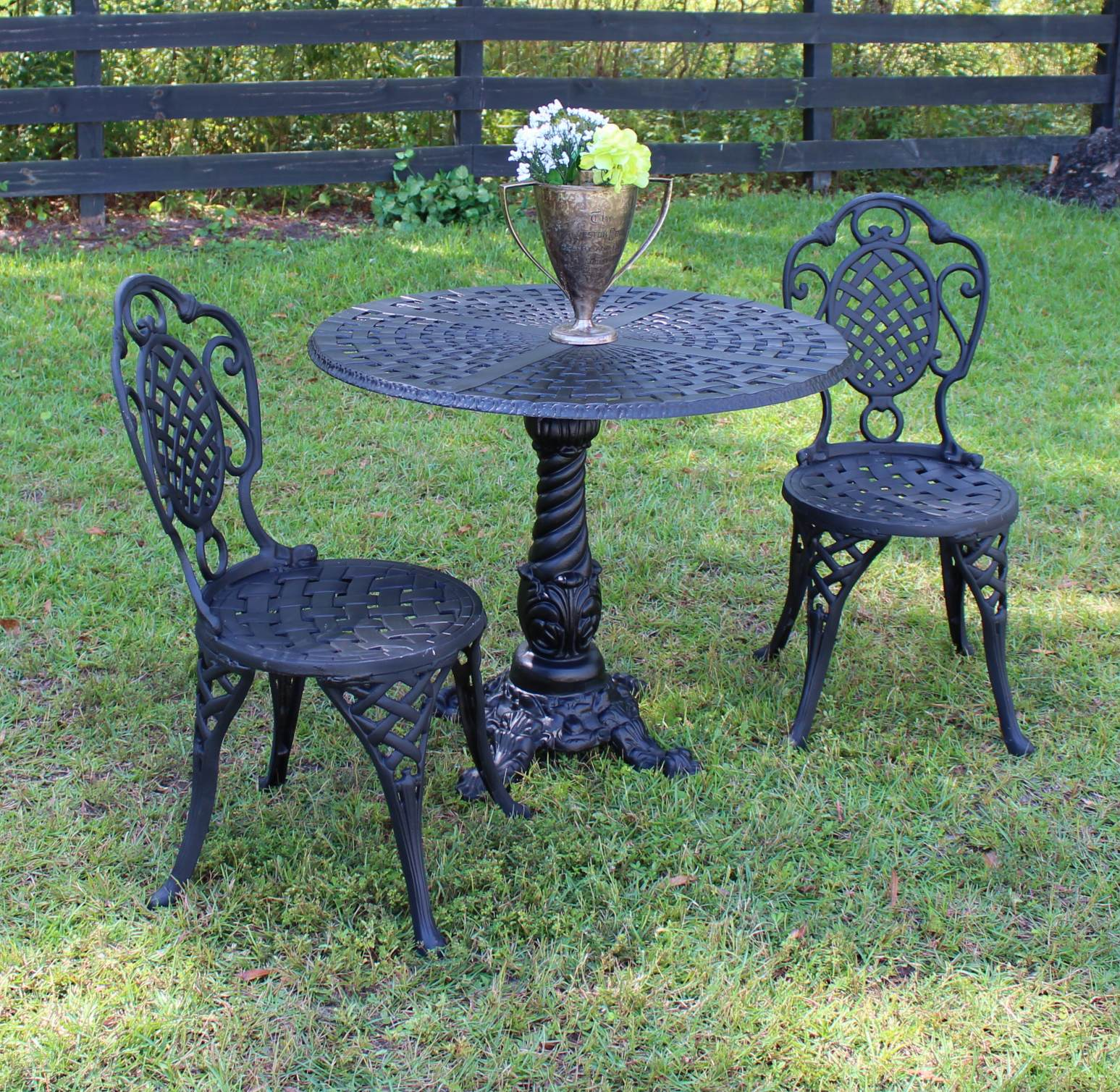 Bistro Set Of Two Chairs And Table For Garden Porch Or Restaurant Cafe