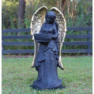 Angel Girl Statue Gold Wings Birdbath Feeder Flowers Basket for 3′ Tall Garden