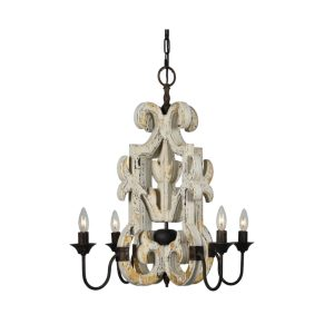 Wildwood Chandelier Farmhouse Country Pendant Light White and Gold Lead Aged