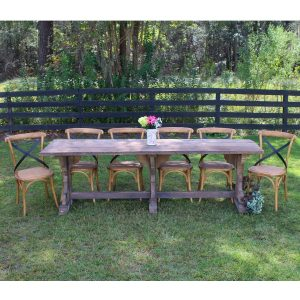 Kitchen Table Set – Six Chairs Recycled Vintage Wood Trestle Bent Shaped Chairs