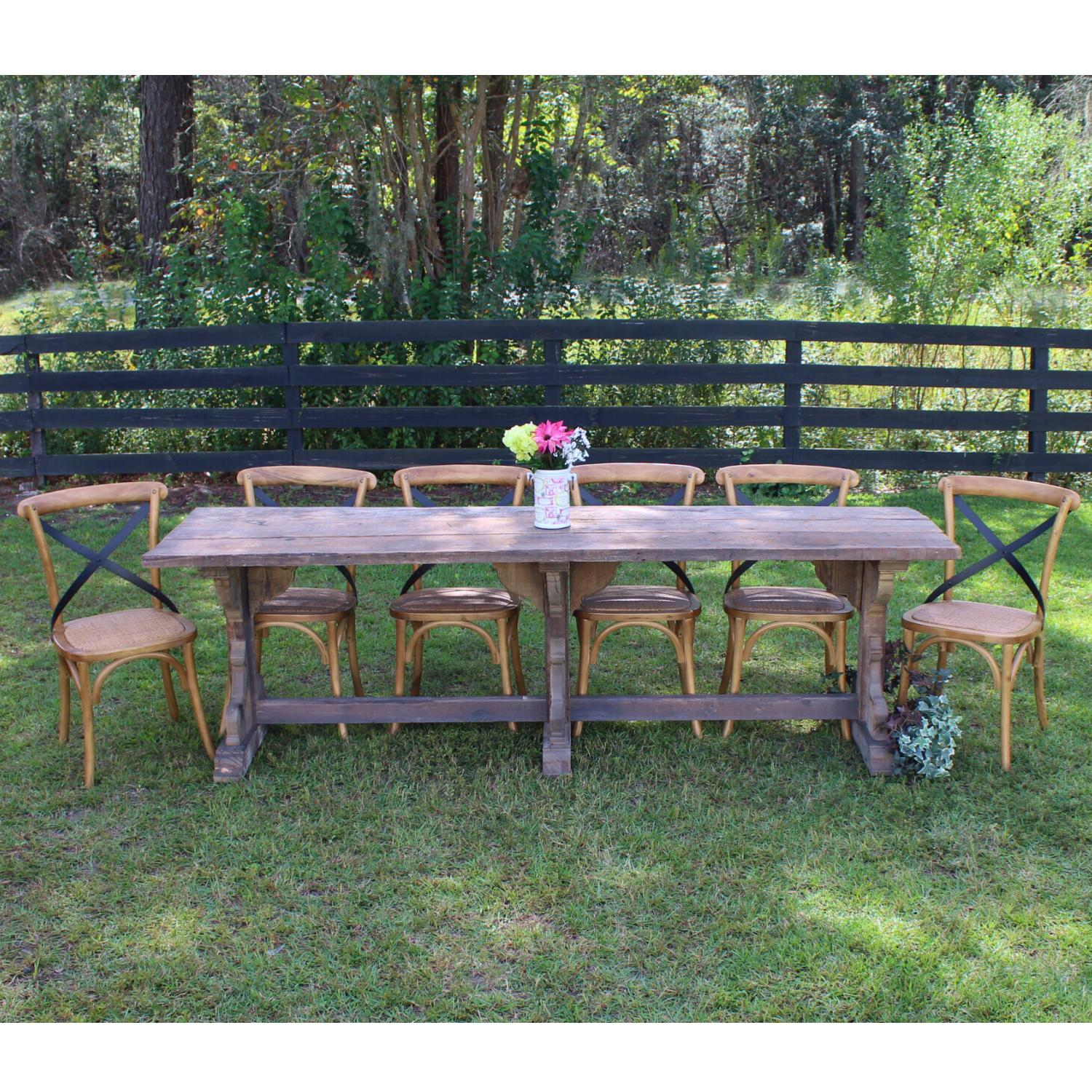 Kitchen Table Set Six Chairs Recycled Vintage Wood