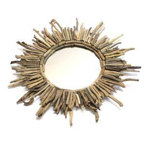 Round Driftwood Sticks Mirror Sunburst Nautical Beach Theme Hand Crafted