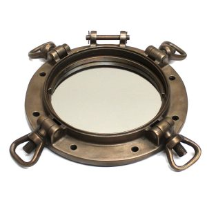 Port Hole Mirror in Faux Bronze Painted Finish Vintage Style Nautical Navy WWII