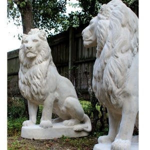 English Regal Pair of Faux Marble Mansion Driveway Lions Life Size Statues