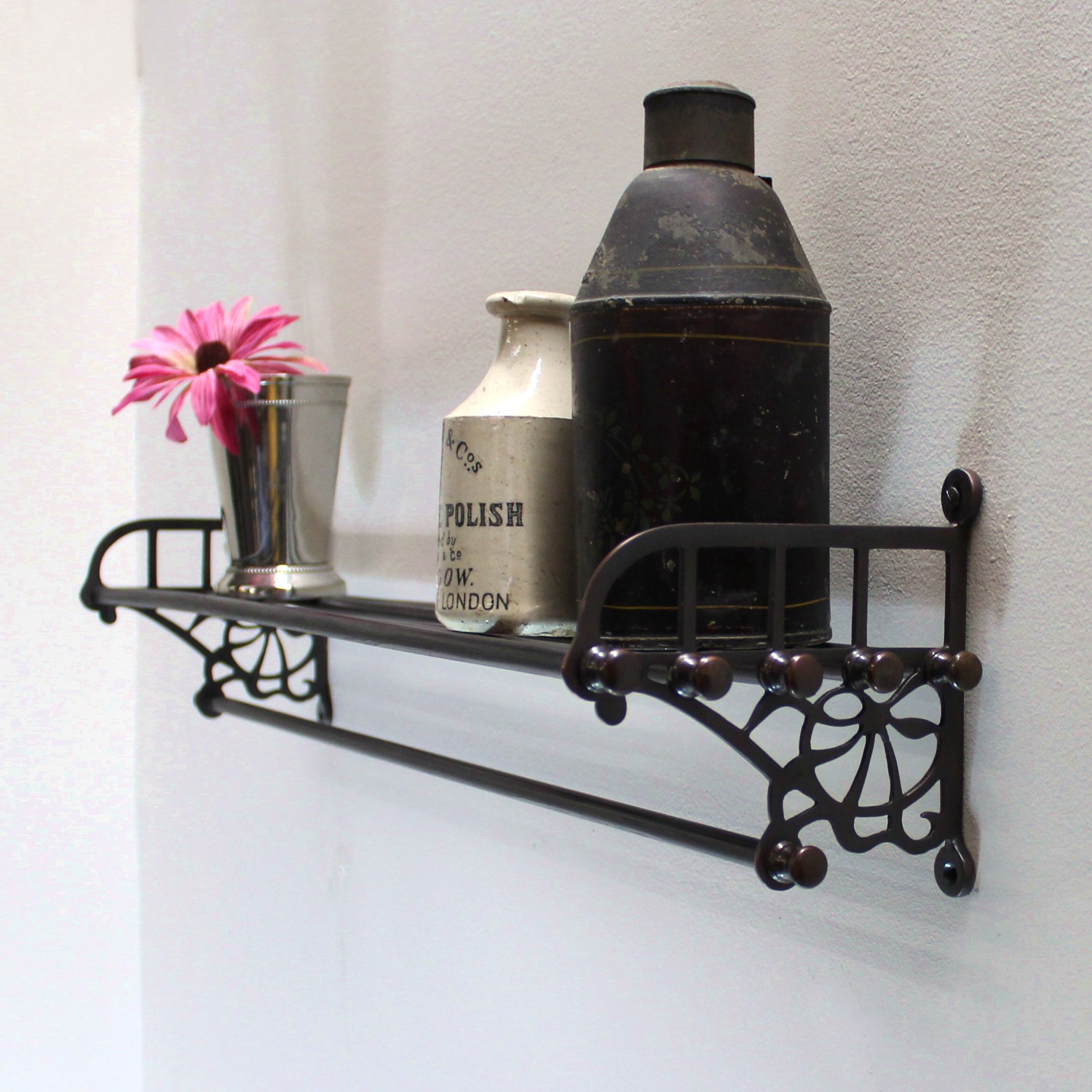 Reproduction Vintage Bath Towels: Bronze Train Rack For Bathroom With Shelf And Towel Rail