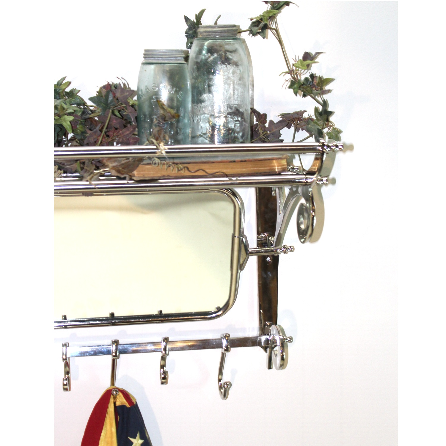 Train Rack With Mirror Luggage Coat Hanger Wall Mounted 7