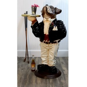 Boxer Dog Butler Statue With Serving Tray Bone Bow Tie in Tuxedo Waiter 39″ Tall