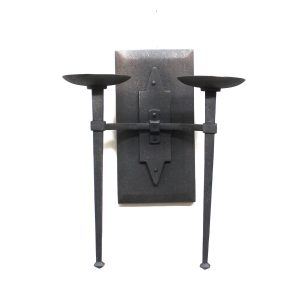 Gothic Medieval Wood and Metal Pillar Candle Wall Sconce Big Black Iron Painted