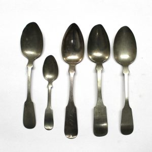 Fiddle Back Spoons Lot Silver Coin Hallmarked Antique Colonial Hall Elton