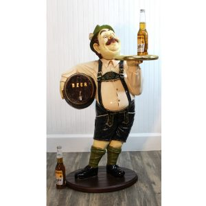 Beer Barrel Waiter Statue Wooden Keg German Waiter with Gold Leaf Edge Tray