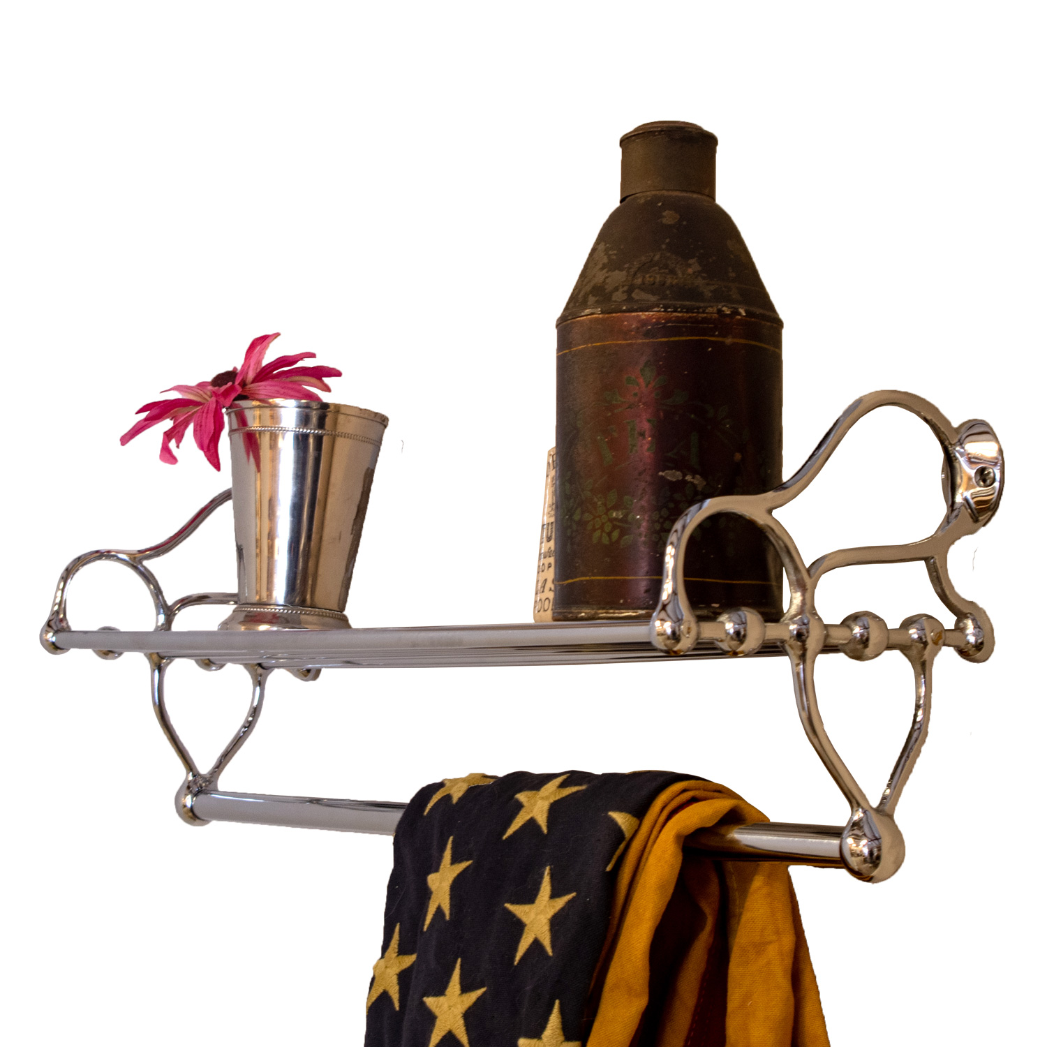 Reproduction Vintage Bath Towels: Chrome Rack For Bathroom With Towel Rail And Shelf Antique