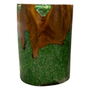Round Cylinder End Side Table Night Stand Teak Root Wood Lucite Green Resin RS11BRGRN-07