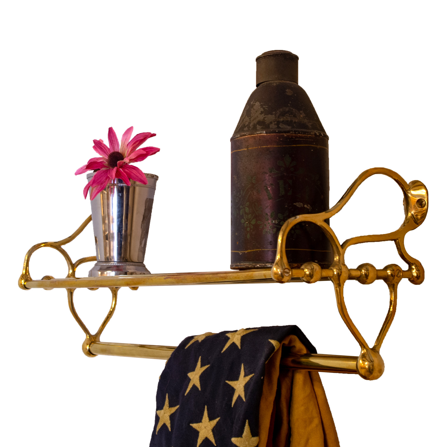 Reproduction Vintage Bath Towels: Polished Brass Rack For Bathroom With Towel Rail And Shelf