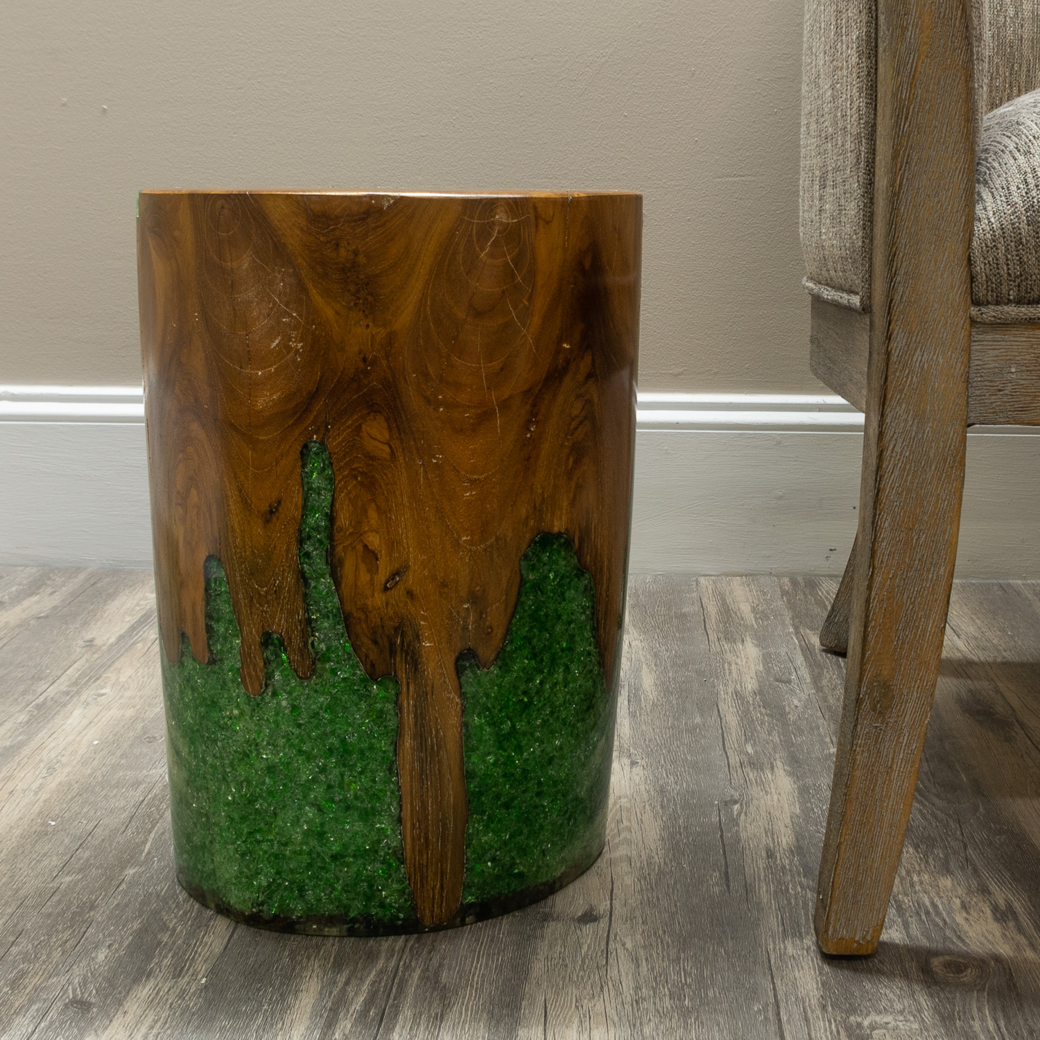 Round Cylinder End Side Table Night Stand Teak Wood Lucite
