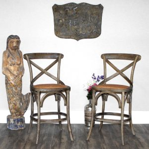 Kitchen Counter Height Bar Stool Pair Criss Cross with Rattan Seat Aged Wood