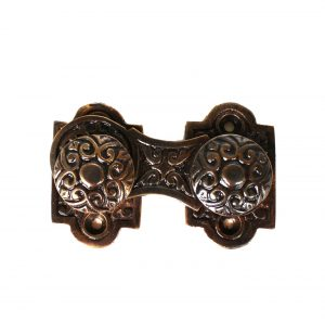 Victorian Bronze Swivel Surface Catch with Knobs Hardware Cabinet Restoration