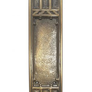 Push Plate in Gothic Greek Revival Style in Cast Heavy Aged Bronze Arched Top