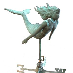 Full Size Mermaid Weather Vane In Copper w Tiffany Green Finish 30 Inches Long