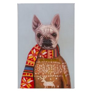 Painting of Pug Dog in Sweater With Scarf and Fuzzy Antlers Deer Art On Canvas