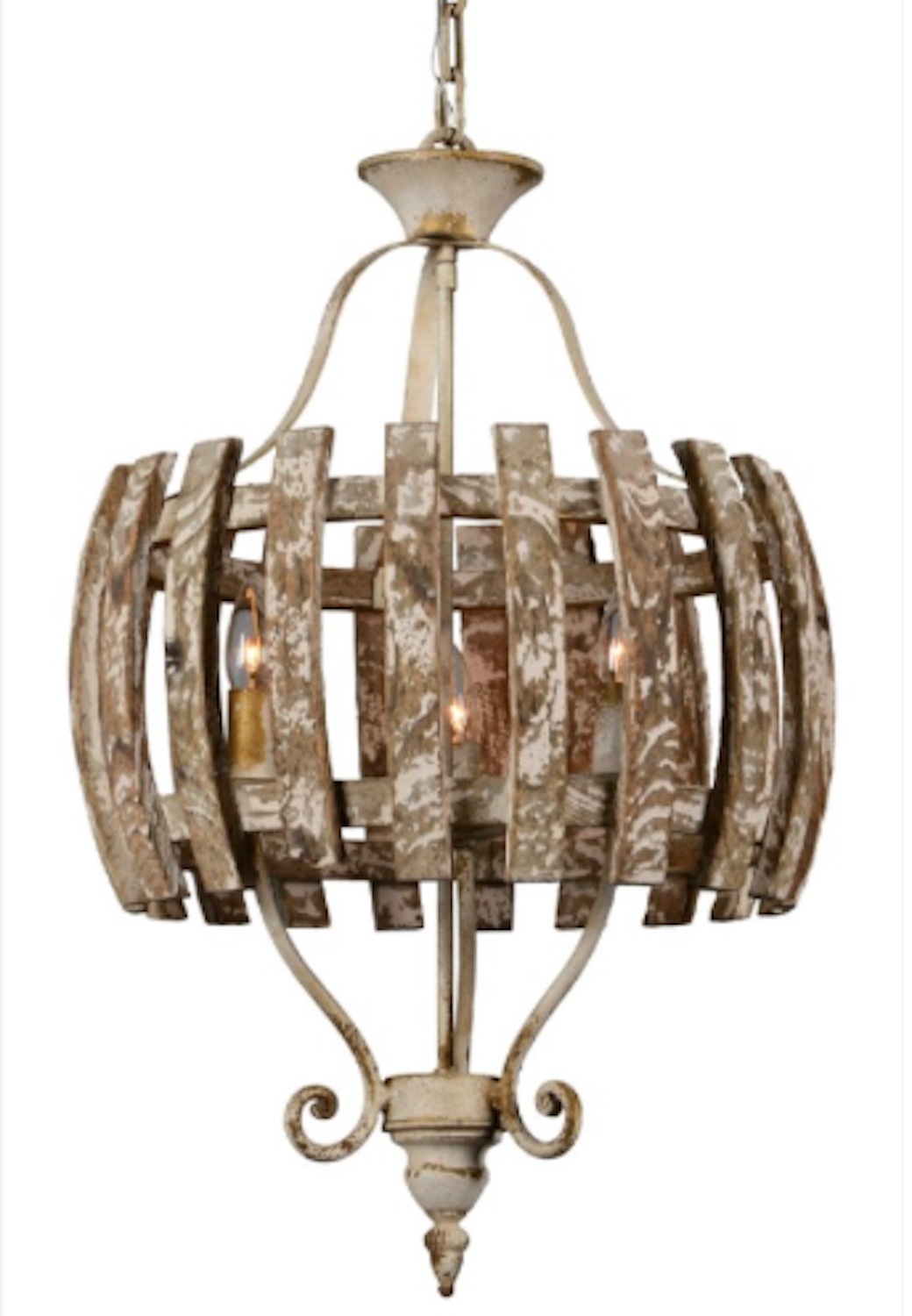Weathered Chandelier 3 Bulb Country Picket Fence Style Light Fixture