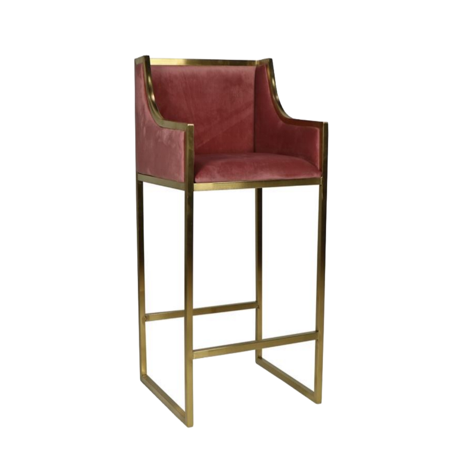 Incredible Red Blush Velvet Bar Stools Sold In Pairs Cushions With Gold Metal Legs Cjindustries Chair Design For Home Cjindustriesco