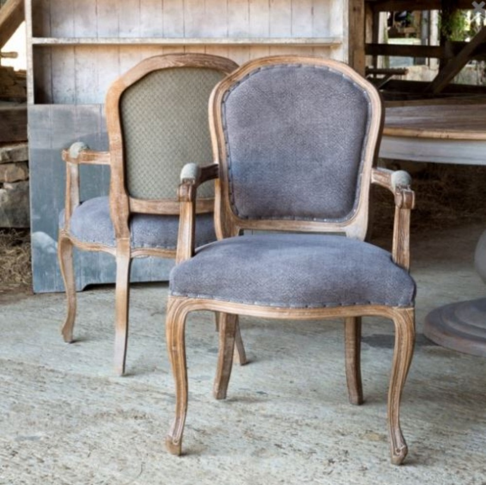 Grayline Dining Arm Chair In Blue Fabric And Gray Hand Painted Elm Wood Pair The Kings Bay
