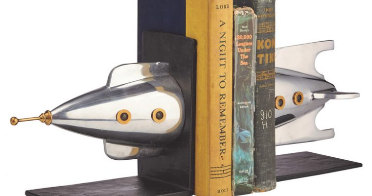 Space Age Sputnik Rocket Ship Bookends Silver & Brass Super Quality Reader Gift
