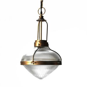 Ribbed Glass Pendant Light from Dock on Train Station Heavy Thick Glass Urban