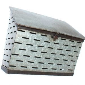 Tin Olive Mail Box Wall Mount Container Galvanized Bin Country Style