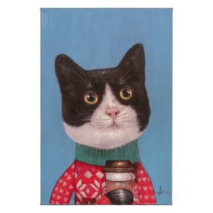 Painting of Cat in Sweater With Scarf and Cup of Coffee On Canvas