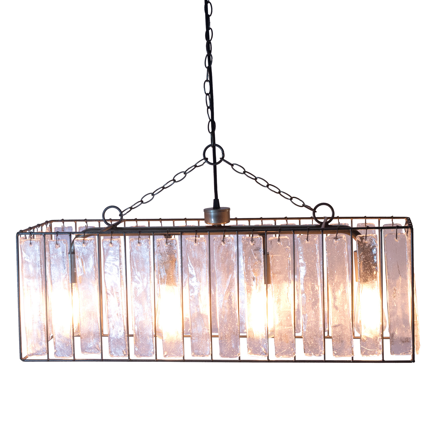 Rectangle Crystal Chandelier With Thick Gl Pendant Crystals Light Fixture