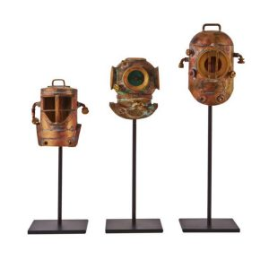 Three Divers Helmet on Pedestals Aged Copper and Rust Collectible Art