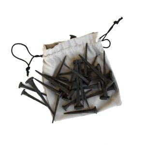 Cut Nails Hand Crafted Wrought Iron Bag of 24 Two Sizes 3″ and 2″ Hammered Head