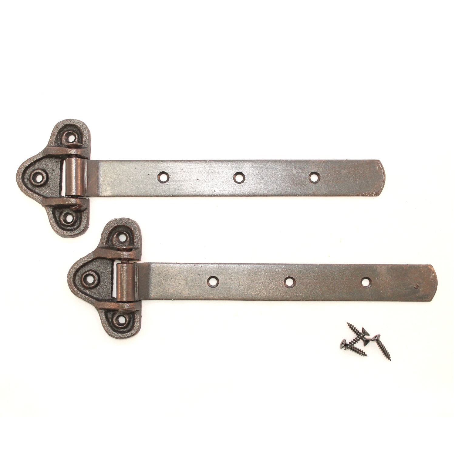 Pair Of Vintage Hand Forged Iron Strap Barn Door Hinges Complete Antiques
