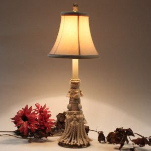 Tyndale Tassel Table Lamp with F. Cooper Cloth Shade As Found