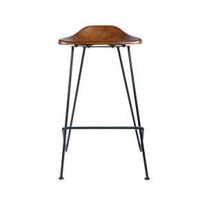 Tack Shop Kitchen Height Bar Stool Gun Metal and Leather Seating Sold in Pairs