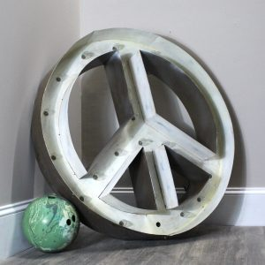 Big Peace Sign Lighted Metal Aged Factory 2nd 36″ by 6″ Deep Little Bent Works