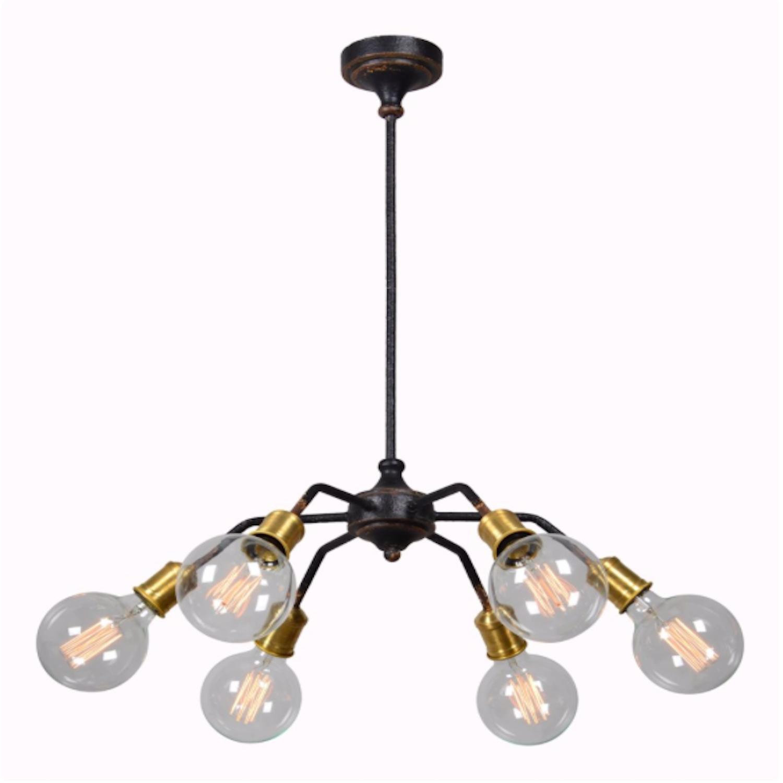 6 Arm Chandelier Edison Pendant Lighting Steampunk Fixture W Brass