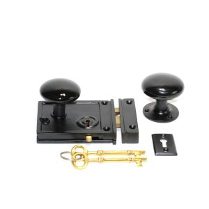 Victorian Square Rim Lock In Cast Iron W Black Porcelain Knobs Vintage Style