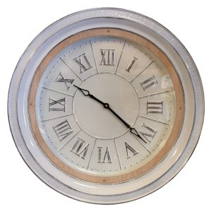 White Metal Clock with Wooden Trim Country Farm Style with Aged Wooden Trim 24″